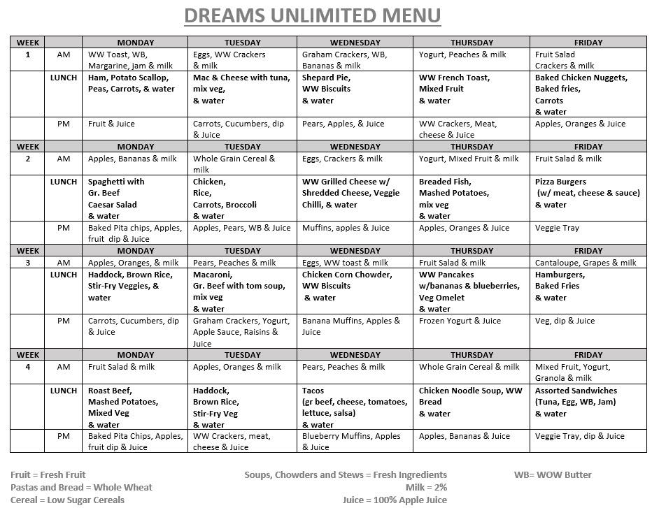 Kids Breakfast Menu Calendar  Sample Menus  Our Place Preschool